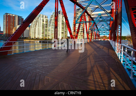 NV buildings and Detroit Bridge over the Manchester Ship Canal in Salford. - Stock Photo