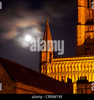 Full moon behind Lincoln Cathedral. - Stock Photo
