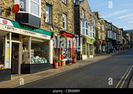 Shops along the High Street in the small market town of Pateley Bridge in Nidderdale. - Stock Photo