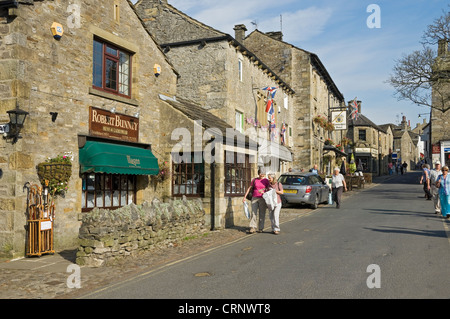 People walking through the small market town of Grassington, the main tourist centre in Upper Wharfedale.