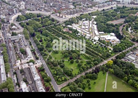 aerial view of Broad Walk and Park Square Gardens in Regent's Park, London NW1 - Stock Photo