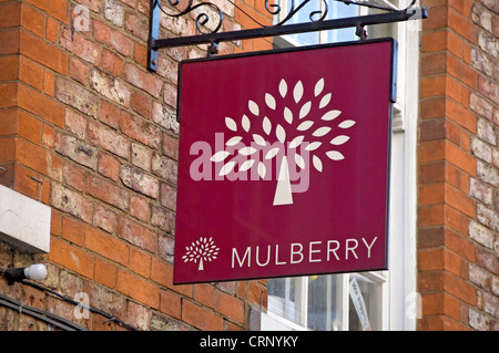 Mulberry shop sign in Swinegate. - Stock Photo