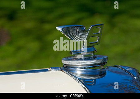 Flying B bonnet ornament on the hood of a vintage Bentley car. - Stock Photo