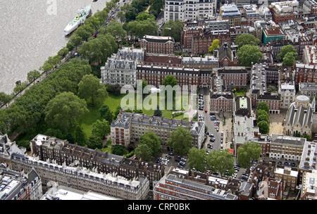 aerial view of Inner Temple Garden, London EC4 - Stock Photo