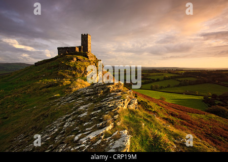 Evening light on the Church of St. Michael de Rupe (St. Michael of the Rock) in Dartmoor National Park. - Stock Photo
