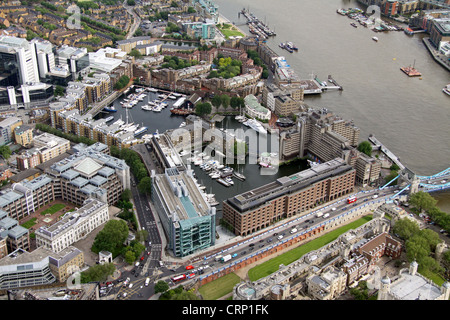 aerial view of St Katharine Docks Marina near the Tower of London EC3 - Stock Photo
