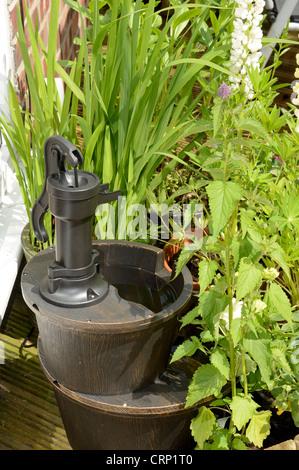 Garden Water Feature Shallow DOF - Stock Photo
