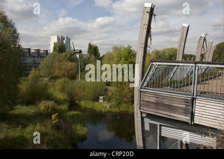 View of ecology park with wetland habitat and wind turbine, The Ecology Park, Mile End Park, Tower Hamlets, London, - Stock Photo