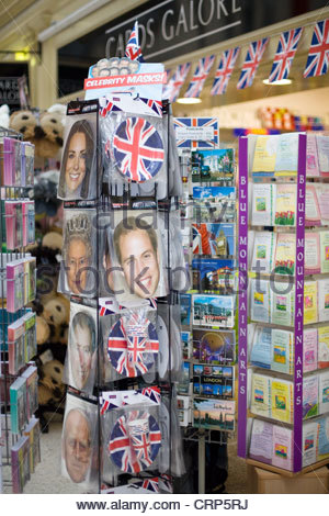 A souvenir Shop selling Memorabilia the royal Family Masks and post cards - Stock Photo