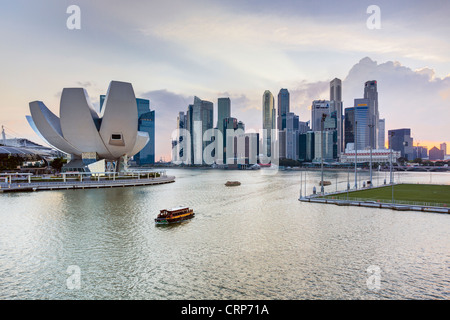 South East Asia, Singapore, Elevated view over the City Centre and Marina Bay - Stock Photo