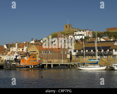 RNLI lifeboat George and Mary Webb moored below St Marys Church at Whitby Lifeboat Station. - Stock Photo