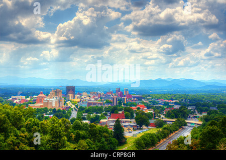 Asheville, North Carolina skyline nestled in the Blue Ridge Mountains. - Stock Photo