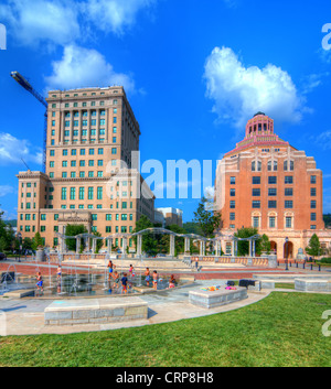 Pack Square Park in Asheville, North Carolina, USA. - Stock Photo