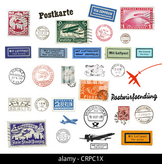 Postage stamps and labels from Germany, mostly vintage from the Years 1930 - 1950 - Stock Photo