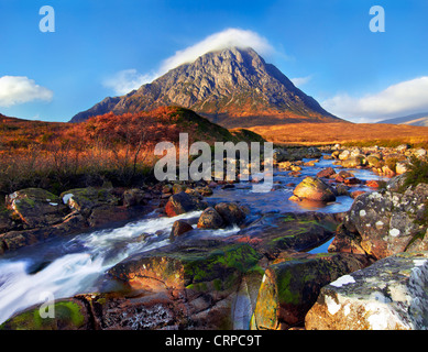 View across the River Etive towards Buachaille Etive Mor, one of the most recognisable mountains in Scotland. - Stock Photo