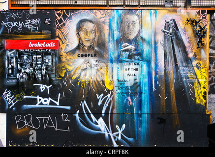 Street Art in Redchurch Street by Paul Don Smith, a well regarded graffiti and urban artist. - Stock Photo