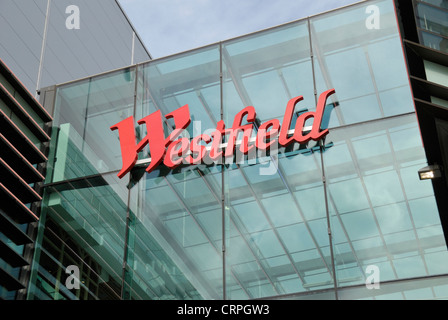 Westfield Stratford City shopping centre sign on the outside of the building. The centre opened in 2011 and is the - Stock Photo