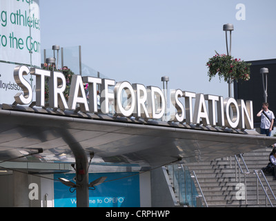 Sign over the main entrance to Stratford station in East London - Stock Photo