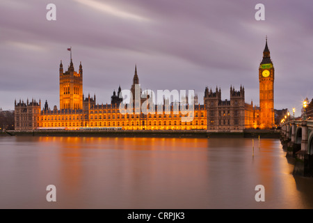 Big Ben and the Houses of Parliament on the North bank of the River Thames. - Stock Photo