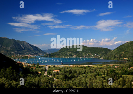 Vlychos bay, very popular anchorage for skippers, Lefkada (or 'Lefkas') island, Ionian sea, Greece. In the BG, Nydri - Stock Photo