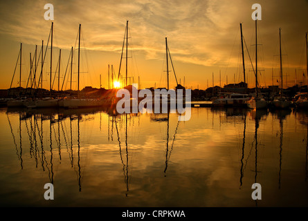 Sunset at the marina in Lefkada (or 'Lefkas') town, Lefkada island, Ionian Sea, Eptanisa ('Seven Islands'), Greece - Stock Photo