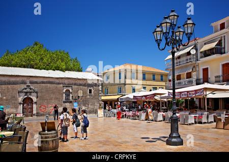 Agios Spyridon square, the main square of Lefkada (Lefkas) town, Lefkada island, Ionian sea, Greece - Stock Photo