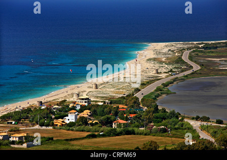 The beaches of Aghios Ioannis & Myloi and the lagoon of Gyras, Lefkada (or 'Lefkas') island, Ionian Sea, Greece - Stock Photo