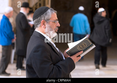 Jewish man reads the Torah at the Old City's Western Wall, Jerusalem, Israel - Stock Photo