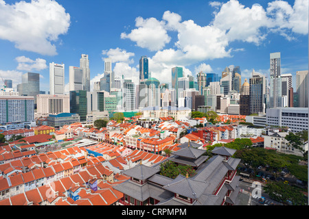 Elevated view over traditional houses in Chinatown, Singapore, Southeast Asia, Asia - Stock Photo