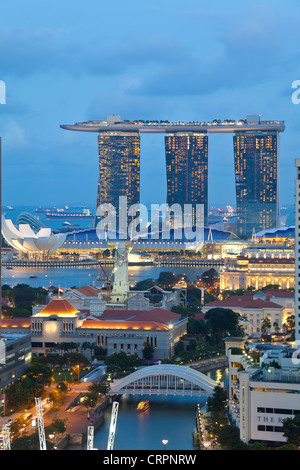 Singapore, Elevated view over the Entertainment district of Clarke Quay, the Singapore river and City Skyline - Stock Photo