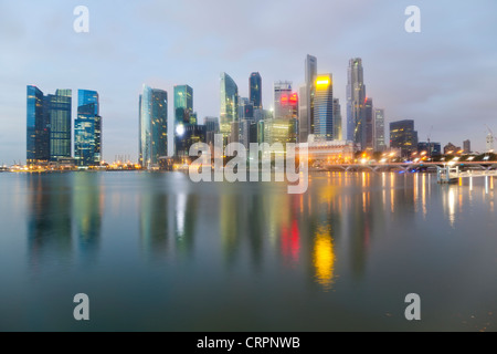 South East Asia, Singapore, City Skyline, View across Marina Bay to the Financial and Business district of Singapore