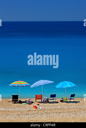 Kathisma beach, on the west side of Lefkada (or 'Lefkas') island, Ionian Sea, Eptanisa ('Seven Islands'), Greece - Stock Photo
