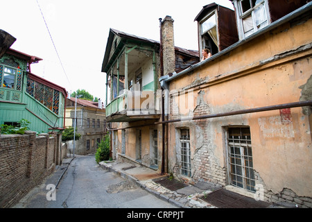 Dilapidated buildings in the Old Town, Tbilisi, Georgia - Stock Photo