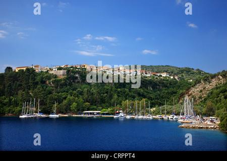 Yachts at the marina in Spilia bay, close to Spartochori village, Meganisi island (Lefkada prefecture), Ionian sea, - Stock Photo