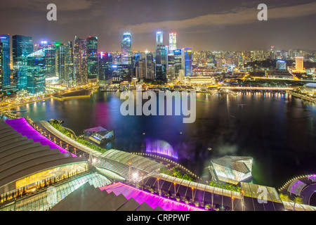 Elevated view over Singapore City Centre and Marina Bay, Singapore, South East Asia - Stock Photo