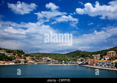 The small port of Vathy village, Meganisi island (Lefkada prefecture), Ionian Sea, Eptanisa, Greece - Stock Photo