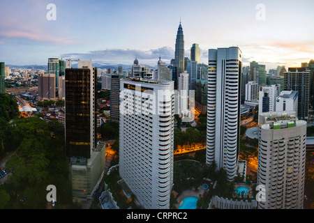 Malaysia, Kuala Lumpur, view over Kuala Lumpur City Centre & Petronas Towers - Stock Photo