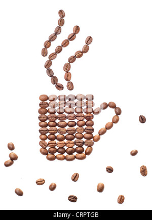 coffee beans in the shape mug over white background - Stock Photo