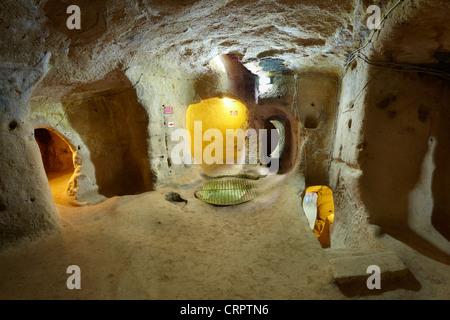 Cappadocia - Turkey, Saratly underground ancient city, Unesco - Stock Photo