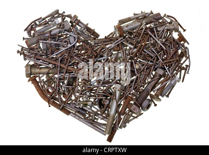 The heart of the old machine is made of rusted bolts and nails isolated concept - Stock Photo