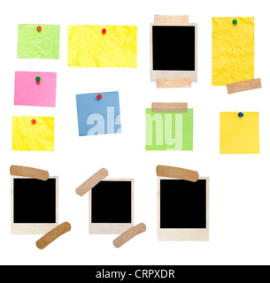 photo frame and empty notes isolated on white - Stock Photo