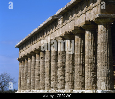Paestum. Temple of Poseidon. 5th century BC. Italy. - Stock Photo