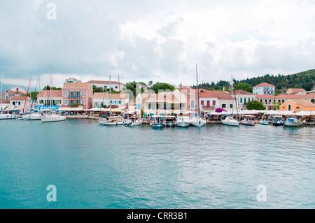 Yacht Harbor, Fiskardo, Kefalonia, Ionian Islands, Greece - Stock Photo