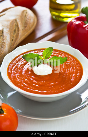 Tomato and Pepper soup - Stock Photo