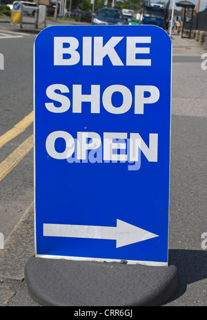 bike shop open sign, kingston upon thames, surrey, england - Stock Photo