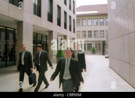 Bank employees in Vaduz (Principality of Liechtenstein) - Stock Photo