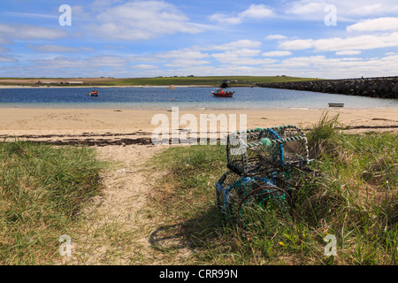 Lobster pots and view across Weddell Sound to Burray with Churchill barrier causeway from Glimps Holm Orkney Islands - Stock Photo