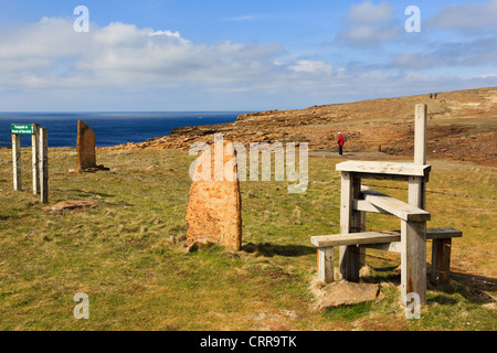 Stile on clifftop coastal footpath to Broch of Borwick on west mainland coast at Yesnaby Orkney Islands Scotland - Stock Photo