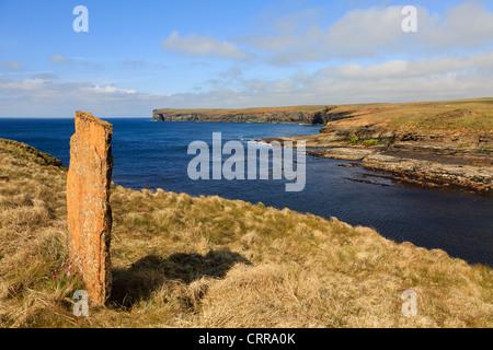 View across Bay of Borwick to Broch of Borwick on west mainland coast near Yesnaby Orkney Islands Scotland UK - Stock Photo