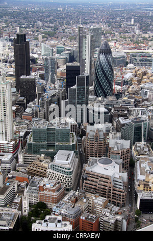 aerial view of the City of London, The Gerkin - Stock Photo
